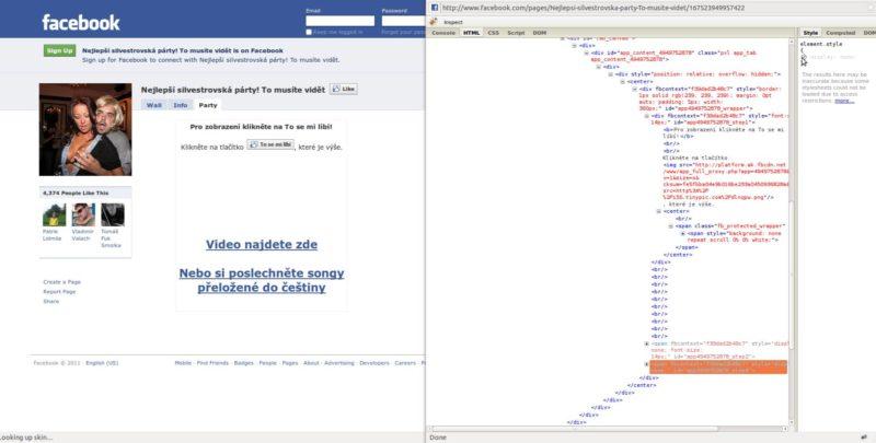 """Časť s textom """"visibility: hidden;"""" alebo """"display: none;"""" sa môže nachádzať aj ďalej"""