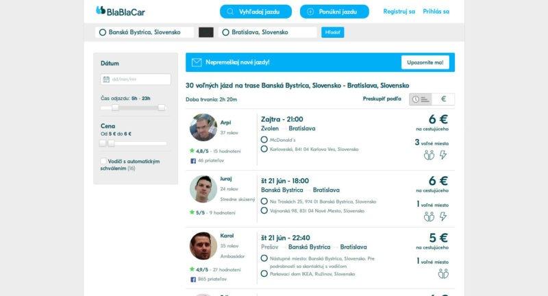 Blablacar.com – vyhľadávanie jázd, 2018