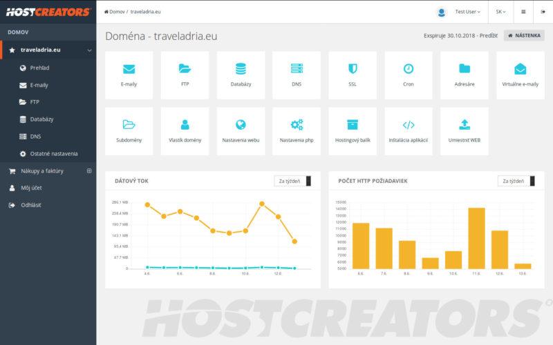 Hostcreators.sk - užívateľské rozhranie (2018)