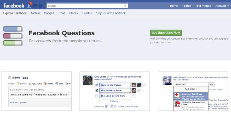 Facebook stránka nástroja Questions