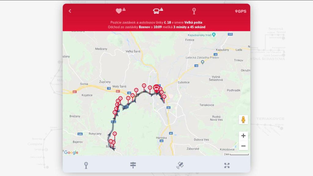 Snímka aplikácie MHDčky Prešov aj s aktuálnou polohou autobusu