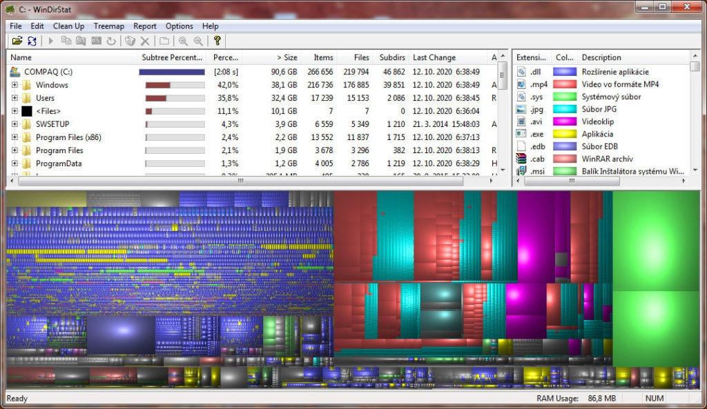 WinDirStat - grafická mapa disku